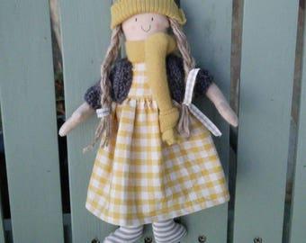 Handmade doll in mustard and grey