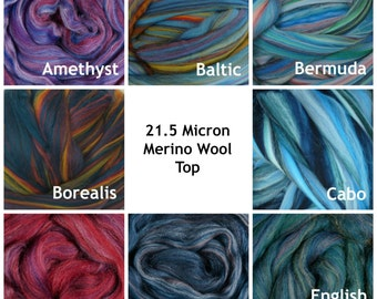 4 oz of Multi Colored Merino Wool Top Dyed Heather 21.5 Micron Roving for felting and spinning