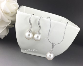 Bridesmaid Gift Jewelry Set Swarovski Jewelry Pearl Necklace Earring Bridesmaid Jewelry Maid of Honor Gift Wedding Jewelry Gift for Moms