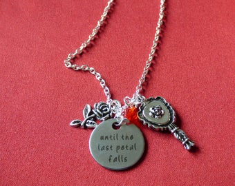 """Disney Inspired, Beauty and the Beast - """"Until the last petal falls"""" - Necklace"""