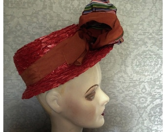 Charming FISK Teens, 1910s, 1920s Straw Gatsby Summer Boater Hat, Grosgrain Wired Ribbons,Size 22, A Charmer