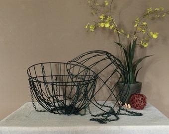 Set of Three Vintage Metal Baskets / Metal Hanging Baskets /  Vintage Baskets / Planter Baskets / Metal Light Shade / Metal Lamp Shade