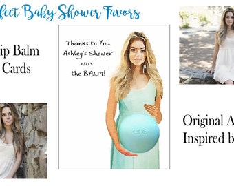 Baby Shower Favor - Custom EOS Lip Balm Baby Bump Note Cards