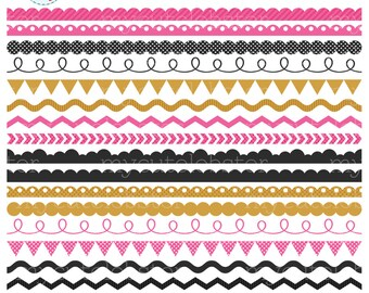 Pink & Gold Borders Clipart Set - clip art set of borders, scallop, ric rac, pennant - personal use, small commercial use, instant download