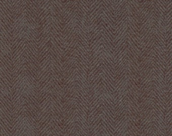 Maywood Woolies Brown Grey Gray Herringbone MASF-1841-JK Flannel Fabric BTY 1 Yd