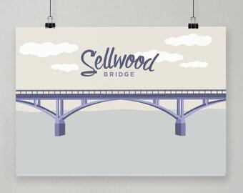 Sellwood Bridge / Illustrated Print / Portland, Oregon Design