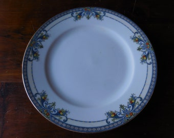 Vintage 1920s Noritake Made in Japan Winona Plate Blue Swag/Fruit Not Perfect Reuse/Recycle/Repurpose Salad Medium Plant Drip Dish Display