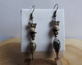 Pair of earrings designer Lampwork Glass, the Brazil Jasper beads, bronze beads