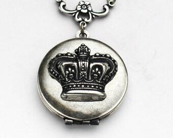 Crown Locket, Crown Necklace, Silver Crown Locket Neclace, Crown Jewels, Crown Jewelry, Enamel Jewelry, Best Friend Gift, Birthday Gift
