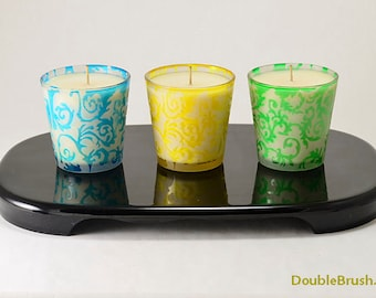 Summer Container Candles Set Damask Design Blue Yellow Green Frosted Glass Cup Candles Soy Vanilla Fragrance Scented Candle Spring Candles