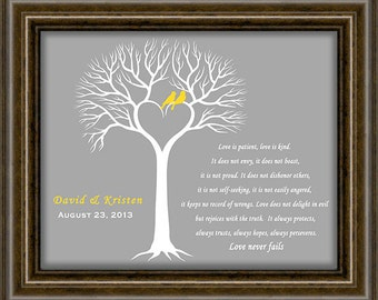 Wedding Date - First Anniversary Paper Gift - Wedding Tree Print - Engagement Gift -  Print Size Is Selected  From The Drop Down Menu