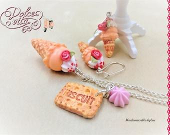 Polymer clay jewelry, earrings polymer clay, kawaii necklace, polymer clay summer, kawaii earrings, ice cream jewelry, kawaii for girls