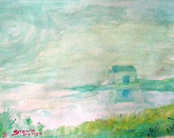 House in fog  watercolor print ORGINAL SOLD