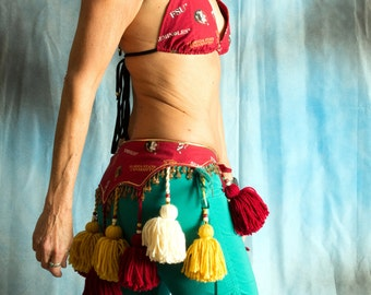 ATS Tribal garnet and gold belt with bikini top