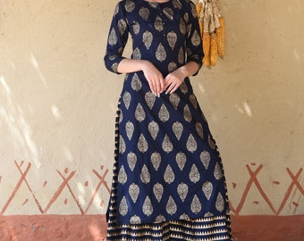 Navy Blue Gold Foil Printed  Kurta with Palazzo