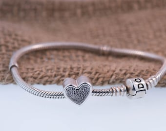 Heart Fingerprint Charm Handcrafted In Pure Silver