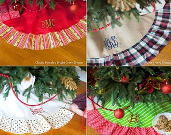 Christmas Tree Skirt, Monogrammed Tree Skirt, Classic Gold Dot Tree Skirt,  Plaid Tree