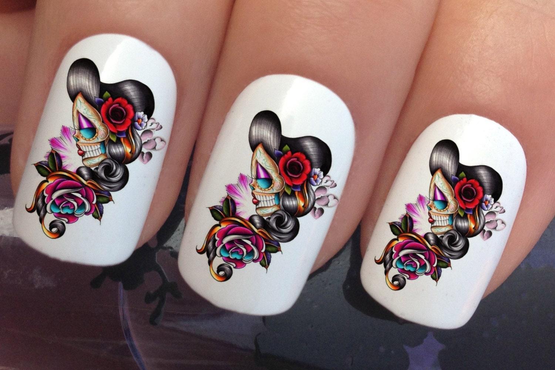 nail art set #647 x24 girly sugar skull day dead water transfer ...