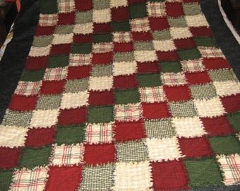 Adult sized Winter or Christmas Flannel Rag Quilt Throw