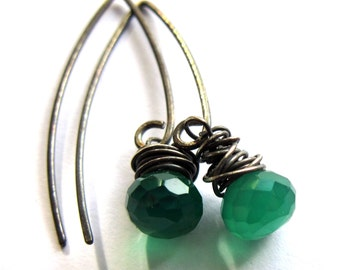 Green Onyx Sterling Silver Earrings Wire Wrapped Gemstone Fashion Jewelry