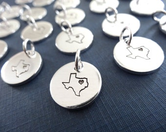 Texas Charm - Personalized Charm - State Charm - Personalized State Jewelry