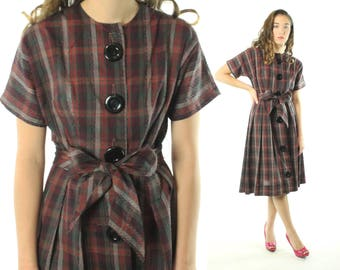Vintage 50s Plaid Day Dress Short Sleeves Full Skirt Plum Big Black Buttons Checked 1950s Medium M Pinup Rockabilly