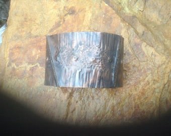 Fold formed ,copper ,bracelet ,cuff,hand made,textured