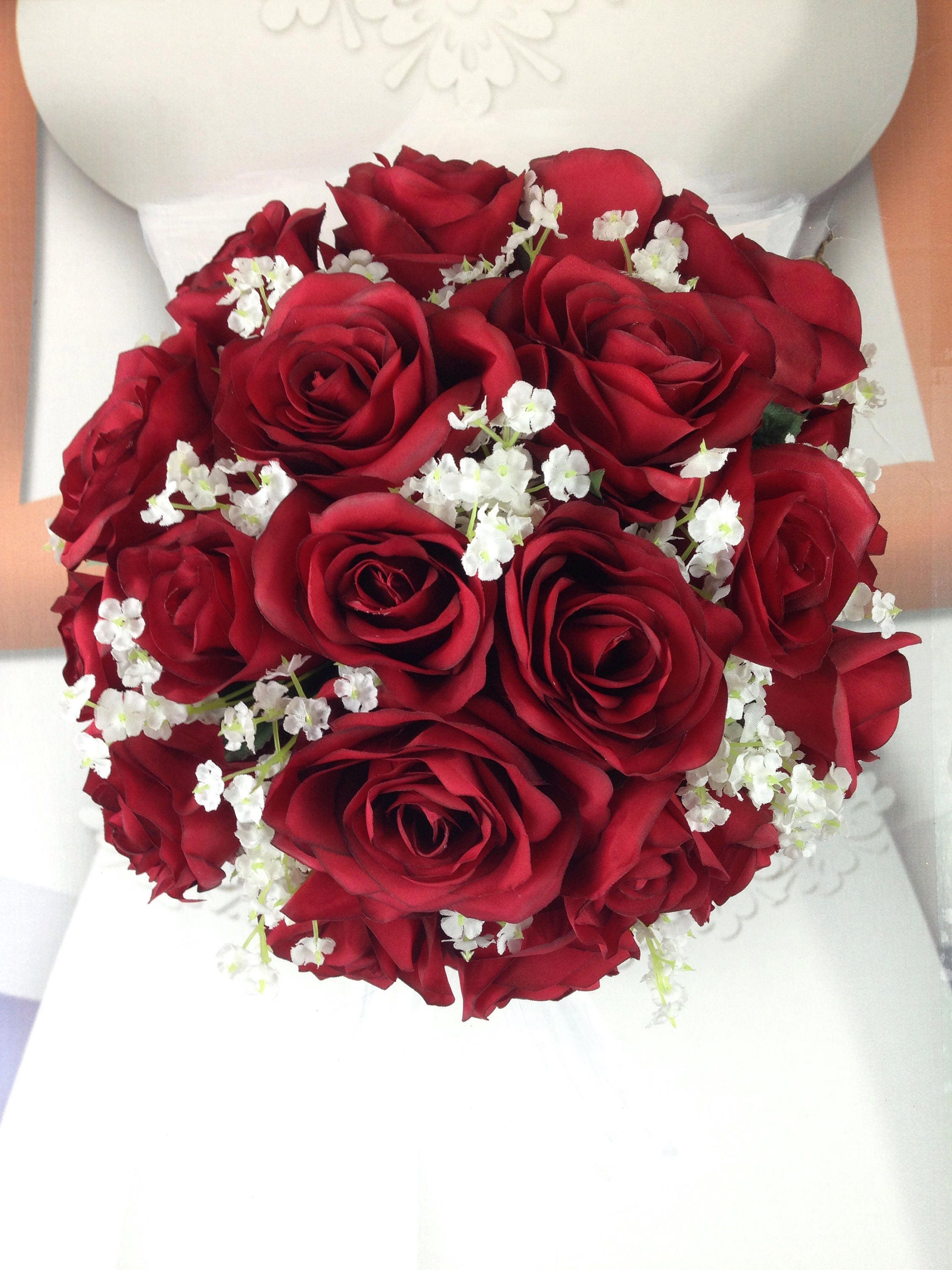 New artificial apple red wedding round bouquet 11 in diameter gallery photo izmirmasajfo