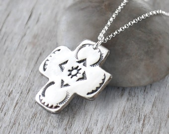 Southwest Silver Cross Necklace -  Handcrafted Jewelry - Sterling Silver Cross Pendant - Hand stamped Southwest style