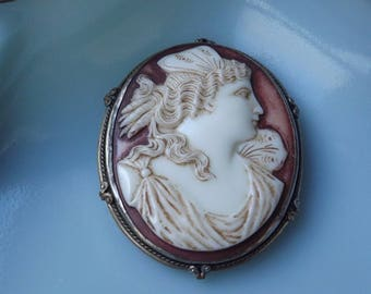 Antique Victorian Large Porcelain Greek Goddess Pysche Cameo Brooch Pin Butterfly