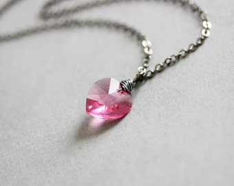 Pink Heart Necklace Swarovski Crystal Heart Crystal Pendant Swarovski Bead Necklace Pink Necklace Gift for Girlfriend Pink Heart Pendant