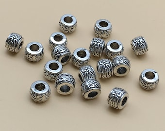 50PCS  Tibetan Beads ,Antique Silver Beads , Large hole beads , European Beads