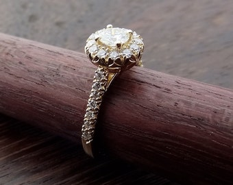 Moissanite with Diamond Halo Engagement Ring Hand Made Vintage / Antique Style 18k Yellow, White or Rose Gold