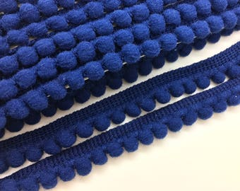Navy Blue Pom Pom Trim, Pom Pom Ribbon, Mini Pom Trim, Decorative Ribbon.
