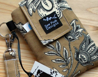 Iphone Galaxy Smartphone Cell Phone Sleeve Brown Black  White Flowers Fabric Padded  Wristlet Key Fob Case Zipper Front Pocket