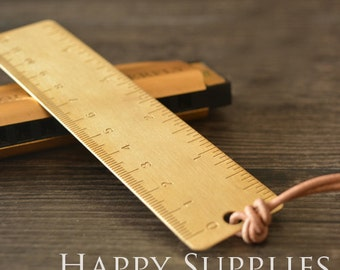 1pcs Simple Vintage Metal Ruler, Lovely Stationery, Suitable for Drawing, Design Tools (RU07)