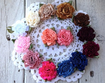 New-RIBBON ROSETTES with LEAVES 1 inch-Choose 15 colors