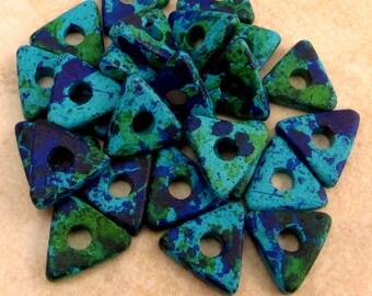 Greek Mykonos Ceramic Triangle Washer Beads 10 mm Aegean Mix 25-Pieces M102