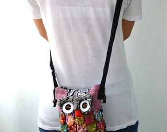 Medium - Pink Ninja Hip Bag Handmade Owl Patchwork Crossbody Bag Messenger M4277