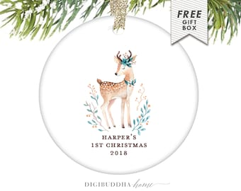 Personalized Baby's First Christmas Ornament, Deer Ornament, Babys 1st Christmas 2018 Ornament Fawn Doe Personalized Woodland Ornament Gift