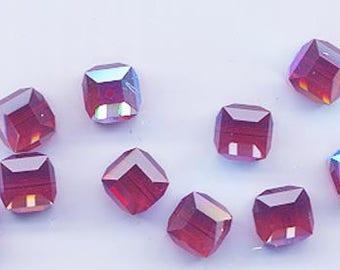 Twelve beautiful 8 mm Swarovski crystal cubes - art 5601 - 8 mm - siam AB