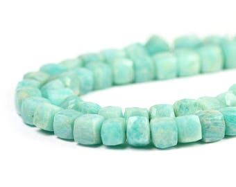 Amazonite Faceted Cube Beads 2 Aqua Blue Feldspar Semi Precious Gemstones