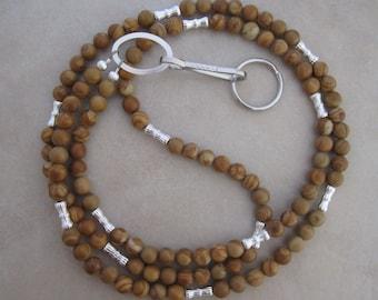 brown lanyard tigerskin jasper silver badge ID holder