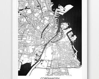 Copenhagen Poster Print, Copenhagen Map Print, Copenhagen Denmark Urban Street Map, Black White Home Wall Office Decor, Printable Travel Art