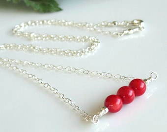 Minimalist Necklace, Red Coral Gemstone, Sterling Silver Bar Necklace, Red Necklace, Gemstone Necklace, Mother's Day Gift