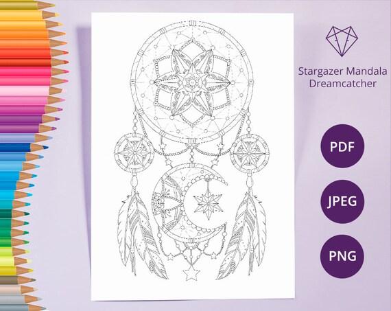 Dreamcatcher Färbung Seiten Erwachsene Malbuch druckbare