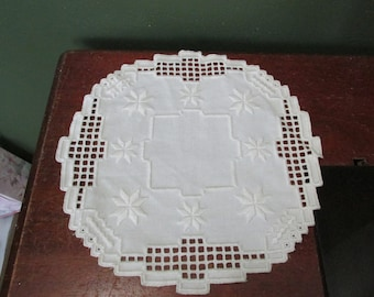 Hardanger Doily 12.5 Inches Diameter Vintage Antique White in Color