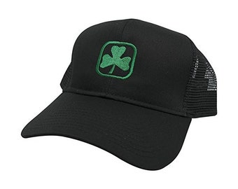 St. Patrick's Clover Leaf Irish Shamrock Embroidered Mesh Cap - Black (2 style)