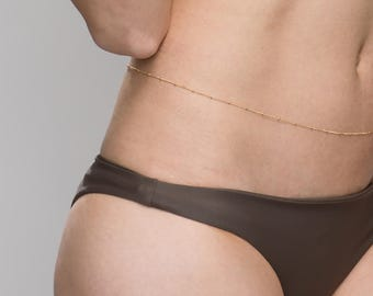 Single satellite belly chain - 14K Gold filled or Sterling Silver body chain/belly chain  EC004
