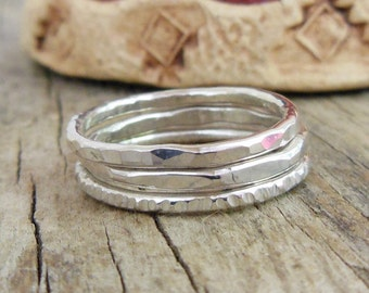 Three Silver Stacking Ring Set Skinny Sterling Silver Rings, Textured Stackers